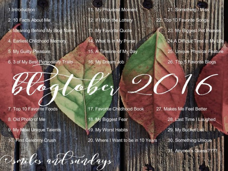 Daily Writing Prompts for Blogtober