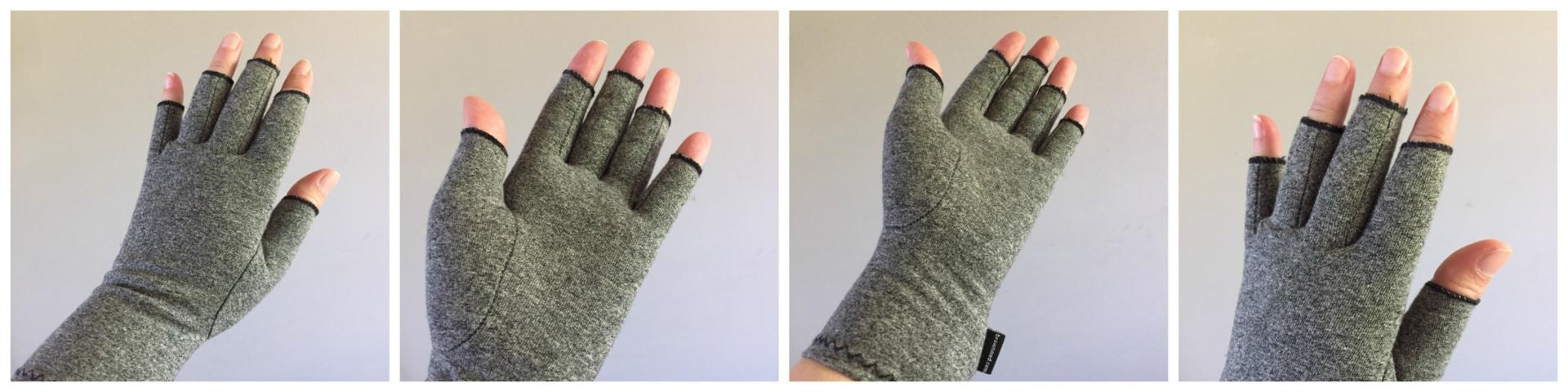 4 images of IMAK compression gloves